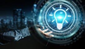 Homme d'affaires utilisant le rendu de l'interface 3D d'idée d'ampoule Photos stock