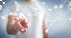 Homme d'affaires utilisant le rendu de la connexion 3D de boules de réseau de vol Images stock