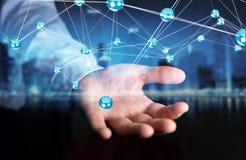 Homme d'affaires utilisant le rendu de la connexion 3D de boules de réseau de vol Image stock