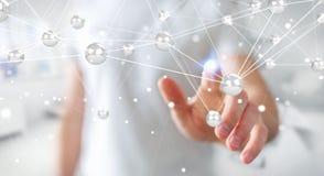 Homme d'affaires utilisant le rendu de la connexion 3D de boules de réseau de vol Photos libres de droits