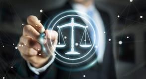 Homme d'affaires utilisant le rendu de la droite 3D de protection de loi Images libres de droits