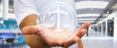 Homme d'affaires utilisant le rendu de la droite 3D de protection de loi Photo libre de droits