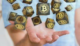 Homme d'affaires utilisant le rendu du cryptocurrency 3D de bitcoins Image stock