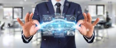 Homme d'affaires utilisant le rendu futé moderne de l'interface 3D de voiture Photos stock