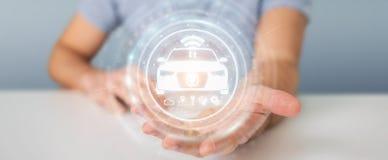 Homme d'affaires utilisant le rendu futé moderne de l'interface 3D de voiture Images libres de droits