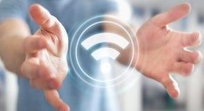 Homme d'affaires utilisant le rendu gratuit de l'interface 3D de point névralgique de wifi Photo libre de droits