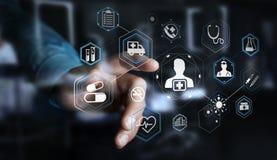 Homme d'affaires utilisant le rendu médical moderne de l'interface 3D Photos libres de droits
