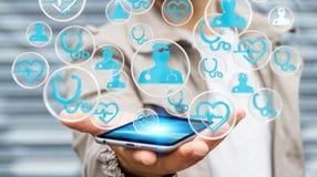 Homme d'affaires utilisant le rendu médical moderne de l'interface 3D Photographie stock libre de droits