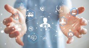 Homme d'affaires utilisant le rendu médical moderne de l'interface 3D Photos stock