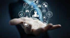 Homme d'affaires utilisant le rendu médical moderne de l'interface 3D Images libres de droits