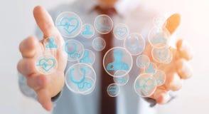 Homme d'affaires utilisant le rendu médical moderne de l'interface 3D Image libre de droits