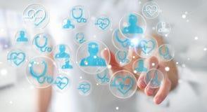 Homme d'affaires utilisant le rendu médical moderne de l'interface 3D Photographie stock