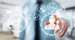 Homme d'affaires utilisant le rendu médical numérique de l'interface 3D Images libres de droits