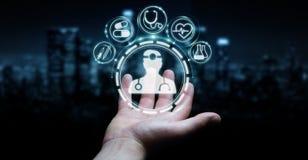 Homme d'affaires utilisant le rendu médical numérique de l'interface 3D Photographie stock