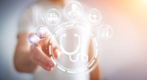 Homme d'affaires utilisant le rendu médical numérique de l'interface 3D Photo stock