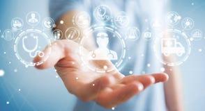 Homme d'affaires utilisant le rendu médical numérique de l'interface 3D Photo libre de droits
