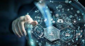 Homme d'affaires utilisant le rendu médical numérique de la sphère 3D Image stock