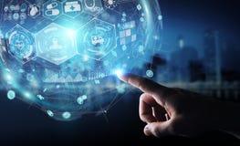 Homme d'affaires utilisant le rendu médical numérique de la sphère 3D Photo stock