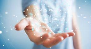 Homme d'affaires utilisant le rendu médical numérique de la sphère 3D Image libre de droits
