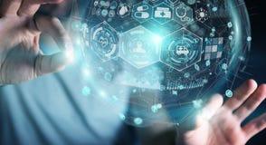 Homme d'affaires utilisant le rendu médical numérique de la sphère 3D Photographie stock