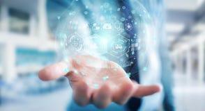 Homme d'affaires utilisant le rendu médical numérique de la sphère 3D Images libres de droits