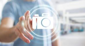 Homme d'affaires utilisant le rendu moderne de l'application 3D d'appareil-photo Images libres de droits