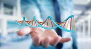 Homme d'affaires utilisant le rendu moderne de la structure 3D d'ADN Photographie stock libre de droits