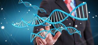 Homme d'affaires utilisant le rendu moderne de la structure 3D d'ADN Photographie stock