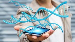 Homme d'affaires utilisant le rendu moderne de la structure 3D d'ADN Images libres de droits