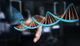 Homme d'affaires utilisant le rendu moderne de la structure 3D d'ADN Images stock