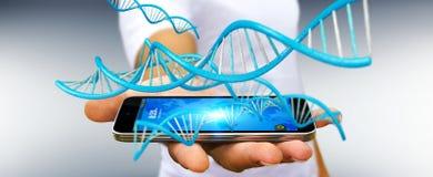 Homme d'affaires utilisant le rendu moderne de la structure 3D d'ADN Photo libre de droits