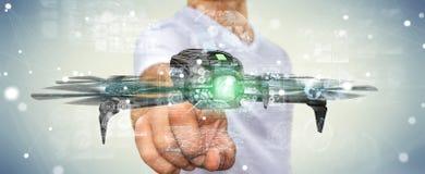 Homme d'affaires utilisant le rendu moderne du bourdon 3D Photographie stock libre de droits