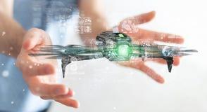 Homme d'affaires utilisant le rendu moderne du bourdon 3D Photos stock