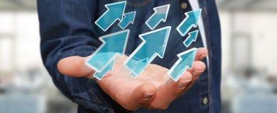 Homme d'affaires utilisant le rendu moderne numérique de la flèche 3D Images stock
