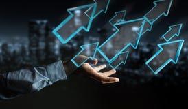 Homme d'affaires utilisant le rendu moderne numérique de la flèche 3D Images libres de droits