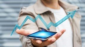 Homme d'affaires utilisant le rendu moderne numérique de la flèche 3D Image stock