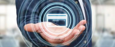 Homme d'affaires utilisant le rendu numérique de l'interface 3D de paiement Photographie stock libre de droits