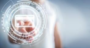 Homme d'affaires utilisant le rendu numérique de l'interface 3D de paiement Photos libres de droits
