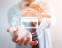 Homme d'affaires utilisant le rendu numérique de l'interface 3D de paiement Image libre de droits