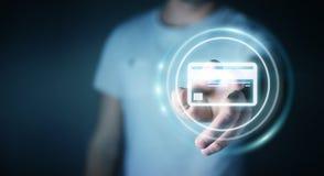 Homme d'affaires utilisant le rendu numérique de l'interface 3D de paiement Photo libre de droits
