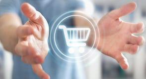 Homme d'affaires utilisant le rendu numérique de l'interface 3D de paiement Photographie stock