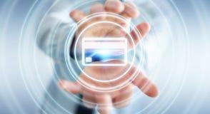 Homme d'affaires utilisant le rendu numérique de l'interface 3D de paiement Photos stock