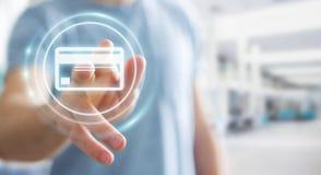 Homme d'affaires utilisant le rendu numérique de l'interface 3D de paiement Images libres de droits
