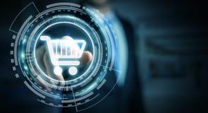 Homme d'affaires utilisant le rendu numérique de l'interface 3D de paiement Photo stock