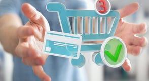 Homme d'affaires utilisant le rendu numérique des icônes 3D d'achats Photographie stock libre de droits