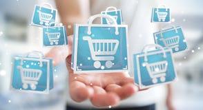Homme d'affaires utilisant le rendu numérique des icônes 3D d'achats Images stock