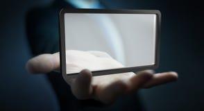 Homme d'affaires utilisant le rendu numérique du comprimé 3D d'écrans Image stock