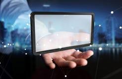 Homme d'affaires utilisant le rendu numérique du comprimé 3D d'écrans Photos stock