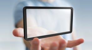 Homme d'affaires utilisant le rendu numérique du comprimé 3D d'écrans Photos libres de droits