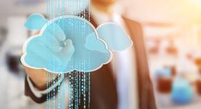 Homme d'affaires utilisant le rendu numérique du nuage 3D Image stock